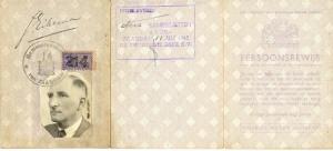 Identiteitsbewijs tijdens oorlog (Jan Eikema) Collectie Heddy Eikema